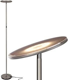 Brightech Sky LED Torchiere Super Bright Floor Lamp - Contemporary, High Lumen Light for Living Rooms & Offices - Dimmable, Indoor Pole Uplight for Bedroom Reading - Brushed Nickel