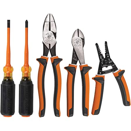 Klein Tools 94130 - Juego de destornilladores aislados de 1000 V con puntas Phillips #2 y 1/4-pulgadas para gabinete puntas delgadas, 2 alicates y pelacables