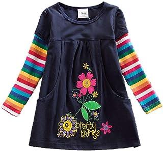 JUXINSU Cotton Girls Flower Long Sleeve Dresses Rainbow Stripe Casual Style for Kids 3-8 Years