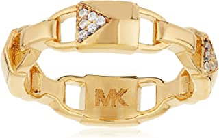 Michael Kors Women Cubic Zirconia Rhodium Gold Plated Ring 6 US