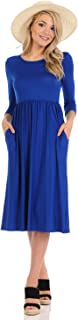 Women's Fit and Flare Midi Dress with Pockets in Solid and Floral - Made in USA