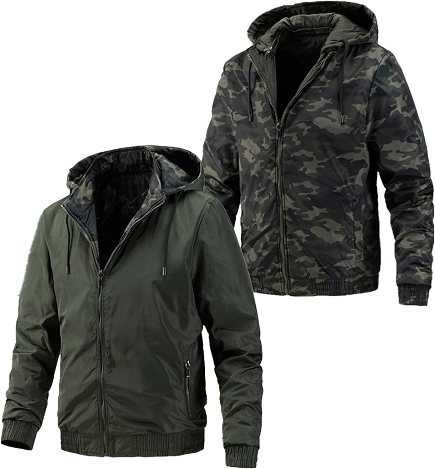 Huangse Mens Camo Jacket On Both Sides Autumn Windproof Hooded Jacket with Pockets Slim Fit Full Zip Coats