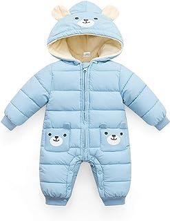 Minizone Baby Overall mit Kapuze Strampler Jungen Mädchen Winter Schneeanzug Outfits Warm Langarm Geschenk 0-24 Monate