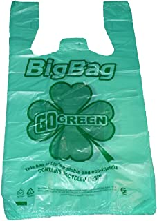 Green Plastic T-shirt Shopping Bags (11x6x21-13mic) - 200 Bags 100% Biodegradable & Recyclable