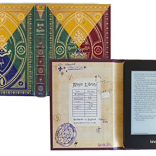 Kindle Paperwhite and Kindle eReader Case with Harry Potter Themed Book of Spells Cover (Compatible with New Paperwhite 2018) (New Hogwarts 4 Colours)