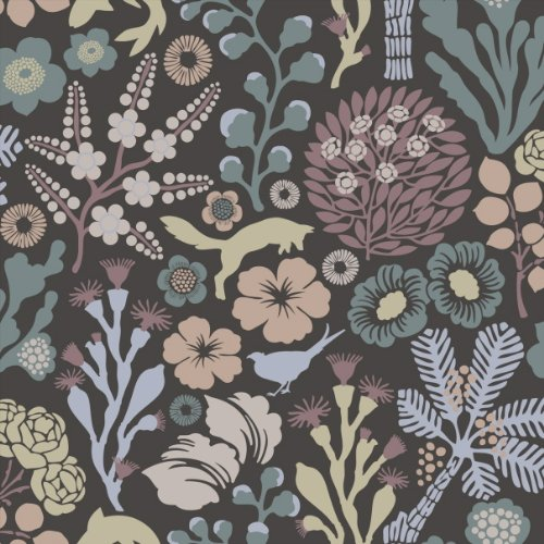 Hanna Werning 1304 tapeta flizelinowa Flora i Fauna pastelowa antracyt