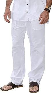M&B USA Cotton White Pants Summer Beach Elastic Waistband Casual Pants