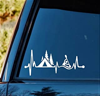 Bluegrass Decals Camping Tent Kayak Heartbeat Lifeline Decal Sticker C1162