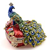 Minihouse Heart Shaped Peacock Pewter Figurine Trinket Box Crystals Tail...
