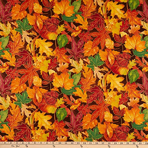 RJR Quilt Fabrics Shades of Autumn Colorful Foliage Metallic Amber Quilt Fabric by the Yard (0750036)