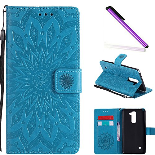 HMTECH LG G Stylo 2 Case LG Stylus 2 Case Sunflower Embossed Floral Wallet Case Card Slots Kickstand Premium PU Leather Flip Stand Cover Stylus Pen for LG G Stylo 2 LS775 KT Mandala Blue