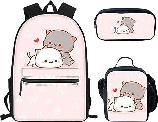 Juego de mochila y lonchera para adolescentes y niños, mochila personalizada para la escuela, mochila para adolescentes y niños con bolsa de almuerzo 3 en 1