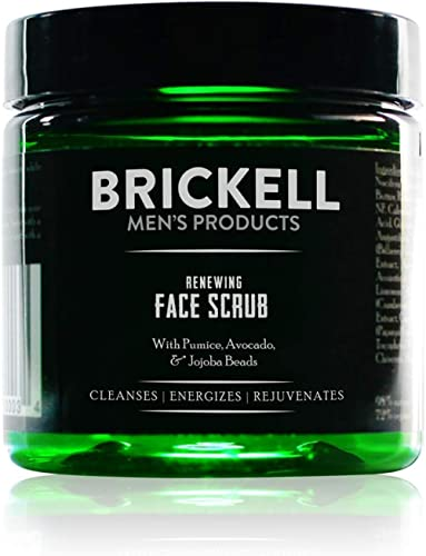 Brickell Men's Renewing Face Scrub for Men, Natural and Organic Deep Exfoliating Facial Scrub Formulated with Jojoba ...
