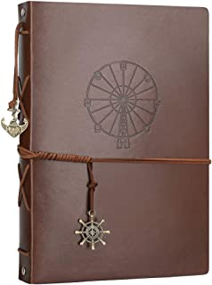 Scrapbooking Photo Album, AIOR Leather Scrap Book Vintage Memory Book Self Adhesive Wedding Guest Book Refillable Black Pages, Anniversary Day Birthday Christmas Gift for Women Mom Girl, Ferris Wheel