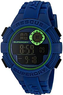 Superdry Radar Digital Black Dial Blue Silicon Watch For Men - SYG193U