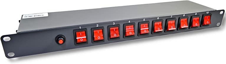 """10 Outlets 15 Amps 125V Power Strip 19"""" 1U Rack Mount PDU Surge Protector and Switch Control"""