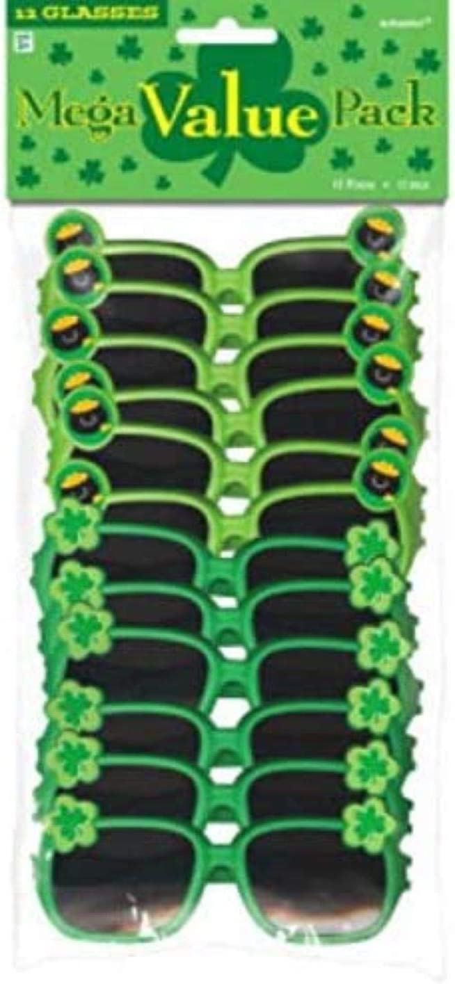 Amscan St Patrick S Day Plastic Glasses One Size Green Kitchen Dining Amazon Com