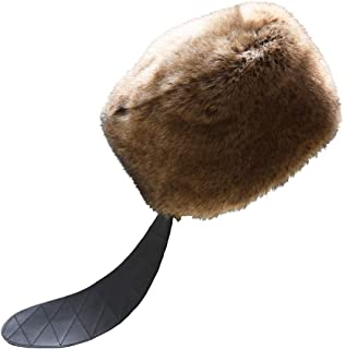 RUR Winter Men Faux Fur Russian Cossack Style Hat Winter Wrap Hat with Leather Tail