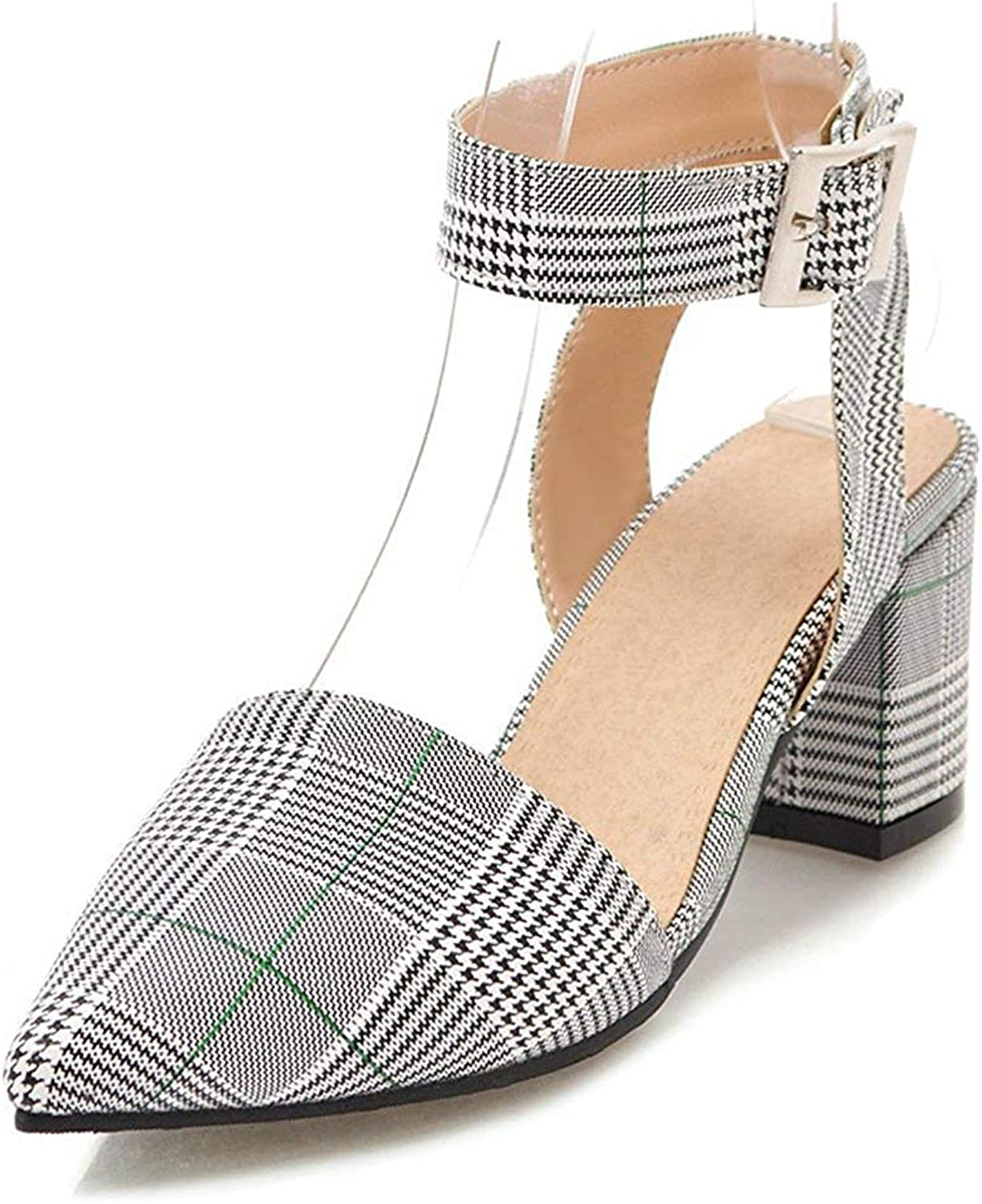 Unm Women's Closed Toe Sandals with Ankle Strap - Checkered Buckled Chunky - Mid Heel Fashion