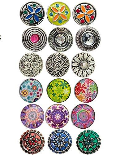 Sunsa Click-Buttons Chunks Sieraden drukknopen klik Button Sieradenset van 18 drukknopontwerpen Dames Meisjes