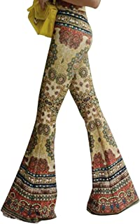 Women High Waist Stretchy Bell Bottom Leggings Retro Floral Flare Palazzo Pant Trousers