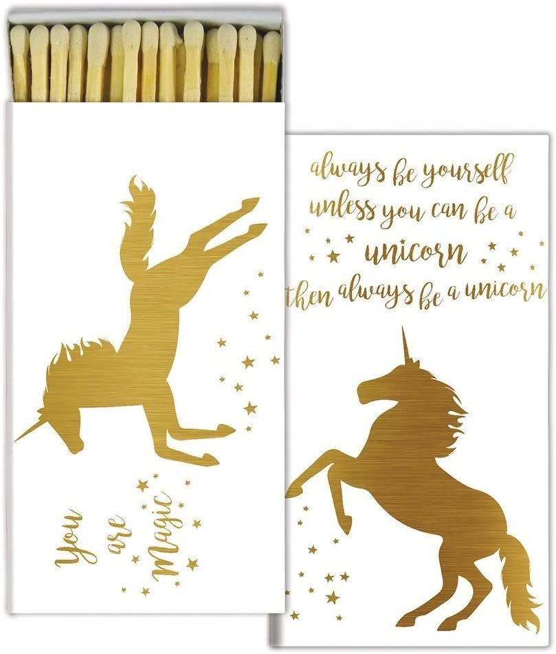 HomArt cheap Large Decorative Gold Foil Max 55% OFF Unicorn Fireplace Candle W and