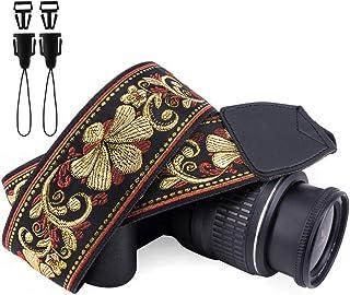 Wolven Kamera Schultergurt, Vintage Stil, Jacquard, kompatibel mit allen DSLR/SLR/Digitalkameras (DC)/Sofortbildkamera/Polaroid usw., goldenes Retro Blumenmuster