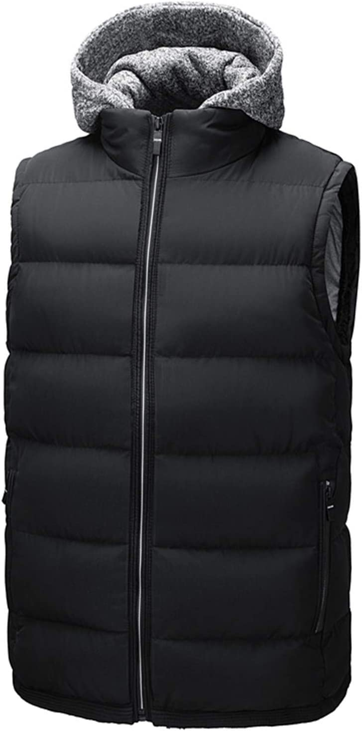 Snhpk Men's Cotton Vest Outerwear Gilets Coat Softshell Jacket, Winter Thicken Warm Windproof Overcoat Waistcoat,Black,M