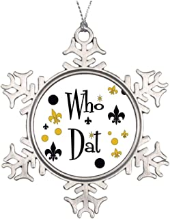 Who Dats Fun in Black Gold Hanging Garden Christmas Snowflake Ornaments