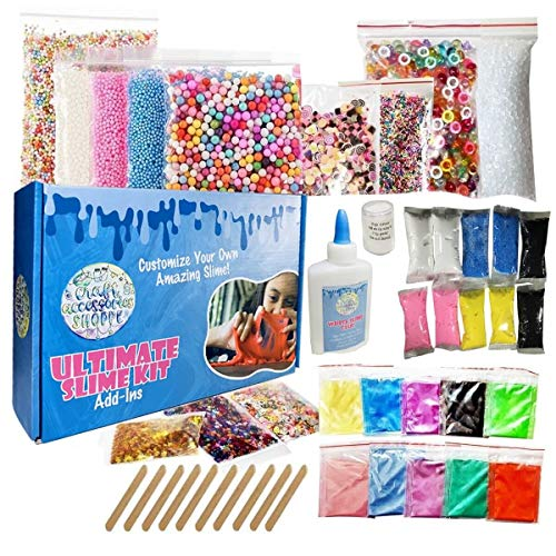 Ultimate Slime Kit for Girls and Boys, DIY Slime Making Kit with Slime Supplies, Air-Dry Clay, Slushie and Fishbowl Beads, Pigment Powder, Glitter Stars, Nail Slices, Foam Balls, and Fake Sprinkles