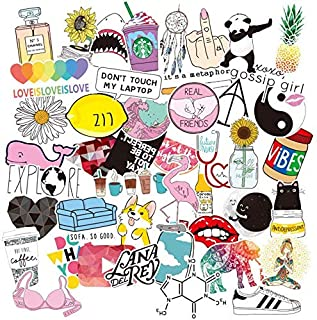 46 Pcs Girls Laptop Stickers Cute Big Stickers for Personality Guitar, Skateboard, Graffiti,Bicycle,Water Bottle,Trolley Case