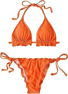 SOLY HUX Women's Frill Trim Halter Triangle Tie Side Bikini Set Two Piece Swimsuits Orange M
