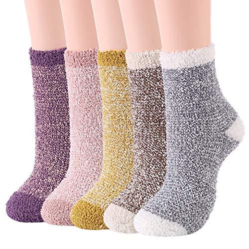 Zando Fuzzy Socks for Women Cozy Slipper Socks Winter Home Socks Girls Warm Sleeping Socks Cute Socks Christmas Fuzzy Socks Winter Socks for Teens 5 Pairs Mixed Solid One Size