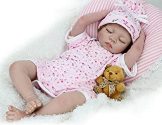 CHAREX Reborn Baby Doll Lifelike Sleeping Newborn Dolls, 22 inch Soft Vinyl Weighted Girl Gift Set for Ages 3+