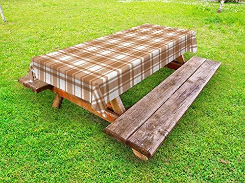 ABAKUHAUS Brown Plaid Tafelkleed voor Buitengebruik, Ouderwetse Layout, Decoratief Wasbaar Tafelkleed voor Picknicktafel, 58 x 120 cm, Caramel Sand Brown