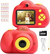 Jhua Kids Camera for Boys and Girls, Kids Digital Video Camera 1080P HD 2 Inches Screen Children Mini Selfie Camera Camcorder with 32GB SD Card Birthday Christmas Toy Gifts 3 - 10 Years Old Kid, Red