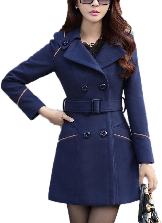 YOSUNL Women's Wool Coat DoubleBreasted Outerwear Winter Warm Trench Jacket Belt