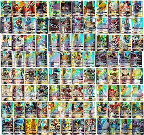 Preisvergleich Produktbild Eholder Pokemon Karten GX Sammelkarten,  Pokemonkarten 100 Stück Set mit 100 GX Pokemon-Karten Kinder Pokemon Kartenspiele (100 Pack)
