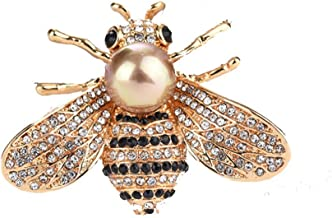 HSQYJ Honey Bee Brooches Crystal Insect Themed Bee Brooch Animal Fashion Shell Pearl Brooch Pin Gold Tone