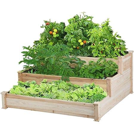 Yaheetech 3 Tier Raised Garden Bed Elevated Flower Box Wooden Vegetables Growing Bed Outdoor Indoor 49 x 49 x 21.9in