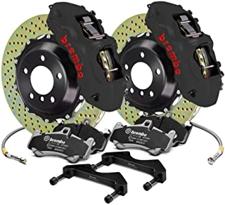 Brembo Front Brake kit Drilled 365x34 2-piece Rotor Monobloc 6-piston Hard anodized black Caliper 1N1.8509AS