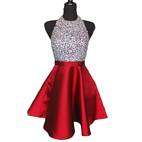 12b5b6eb00 LCRS Juniors Short Prom Dresses with Pockets Satin Beaded Halter A-Line  Formal Homecoming Dress
