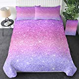 Sleepwish Glittery Bedding Set Twin Size Colorful Abstract Purple and Pink Duvet Cover 3 Pieces Girls Sparkly Pastel Ombre Bed Set