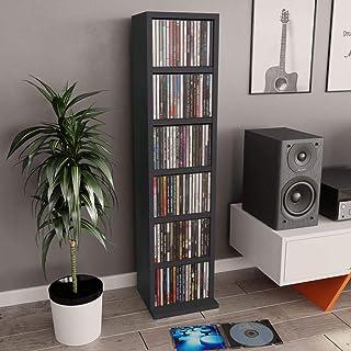 UnfadeMemory Estante Madera de CD DVD,Estante de Exhibición,6 Compartimentos Abiertos,Madera Aglomerada,21x16x88cm (Gris)