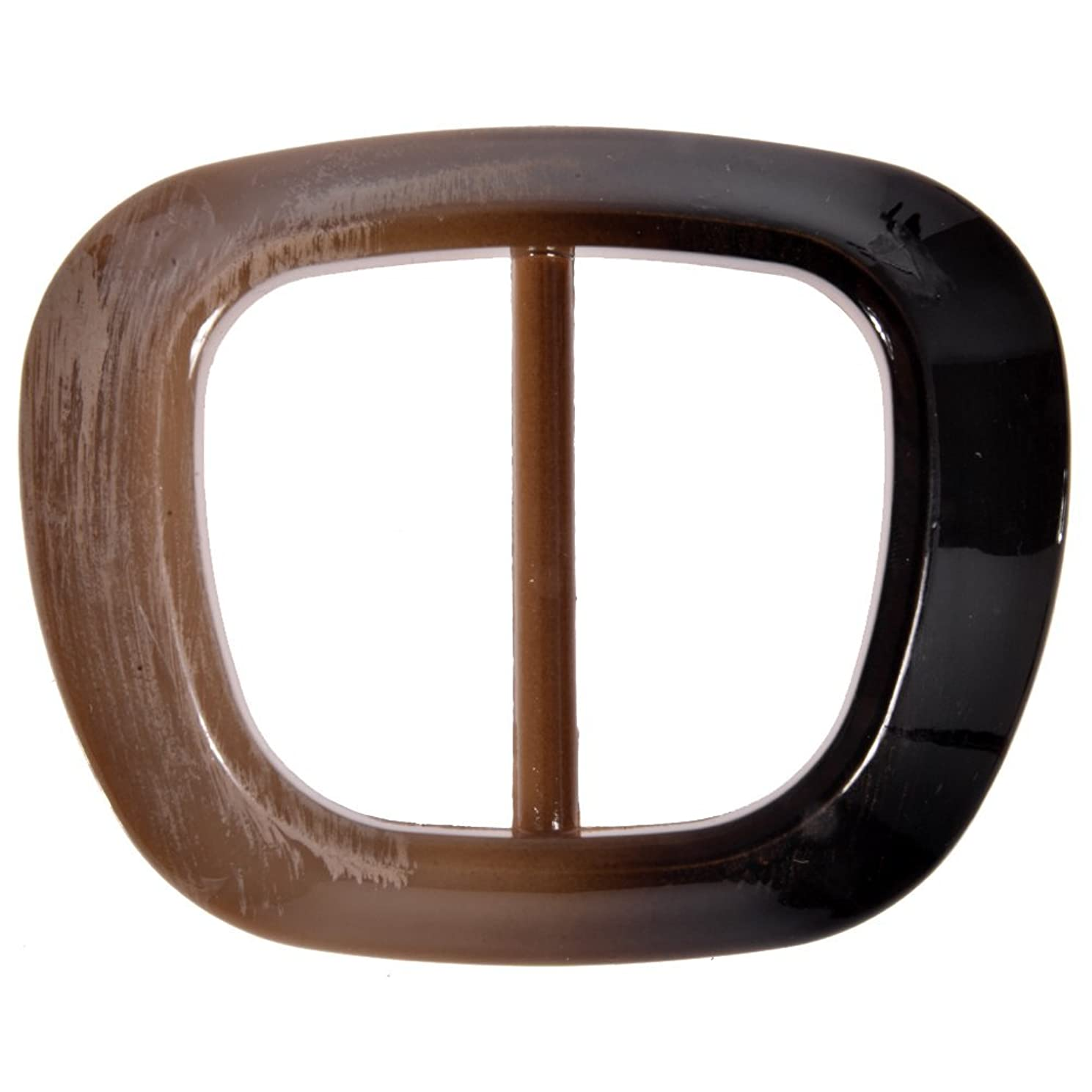 Mibo Special FinishSprayed Mibo Imitation Horn Buckle Raised Square Oval Shape 40mm Inside Bar Brown