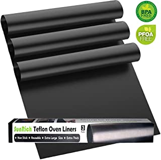 Nonstick Oven Liner for Bottom of Electric,Gas,Toaster & Microwave Ovens - 500 Degree Reusable Oven Protector Liner - Extra Thick/Heavy Duty/Easy to Clean Non stick Oven Mat Set (3) By Sunrich