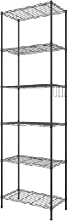 Himimi Étagère 6 Niveaux Étagère de Cuisine en métal avec Crochets latéraux Chromé 54 x 29 x 160 cm,Noir