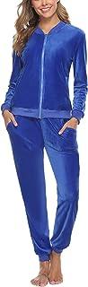 Akalnny Femme Survêtement Ensembles 2 Pièces Sportswear Manches Longues Suit Fermeture éclairl avec Poches Zipper Pyjama d...