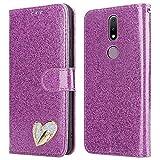 iPEAK Schutzhülle für Nokia 2.4 (glänzend, Leder, glitzernd, Standfunktion, Kartenfach, Geldbörsen-Stil, für Nokia 2.4 Handy), Violett