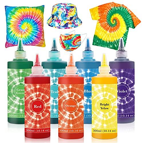 7 Colors Tie Dye Kit, 10.14oz Jumbo-Size Fabric Dye for Family Friends Groups Party Supplies, 59 Pack Tie Dye Kit for Women, Kids, Men by Vanstek